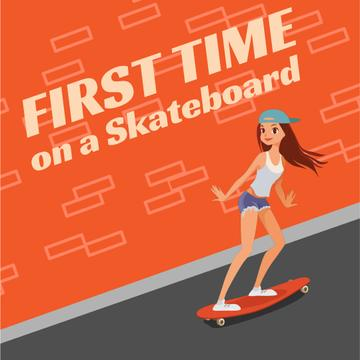 Skateboarding Lessons with Girl Skating on Longboard