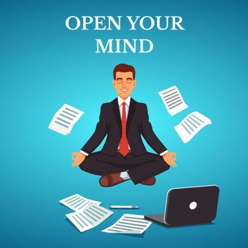 Businessman Meditating at Work in Blue