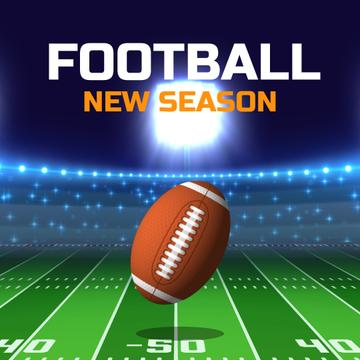 Football Season Announcement with Rugby Ball on Field
