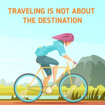 Traveling Inspiration with Cyclist Riding on Nature Background