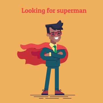 Recruitment Announcement with Businessman in Waving Red Cape