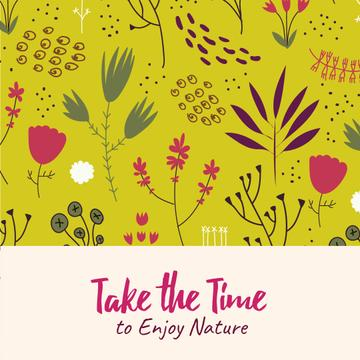 Nature Inspiration with Flower Doodles on Yellow