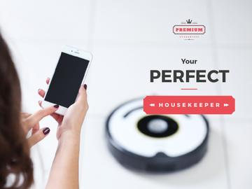 Woman with Smartphone Adjusting Robot Vacuum Cleaner