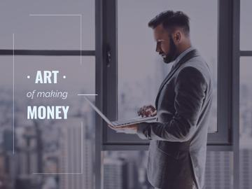 Making Money with Businessman Typing on Laptop