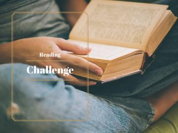 Reading Challenge with Woman Holding Book