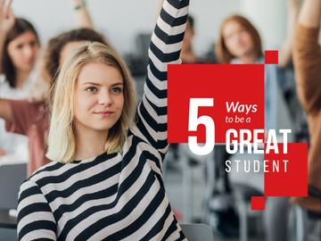 Education Tips with Student Raising Hand in Class