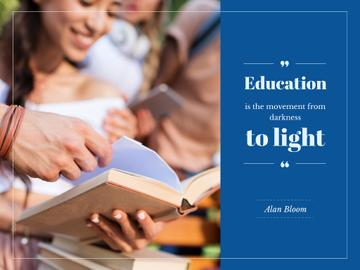 Education Quote with Smiling Students Studying