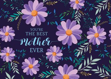 Happy Mother's Day with Flowers in Purple