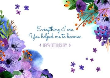Happy Mother's Day postcard with Tender Flowers