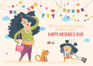 Happy Mother's Day postcard with funny Mom and daughter
