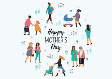 Happy Mother's Day with Mothers and Kids