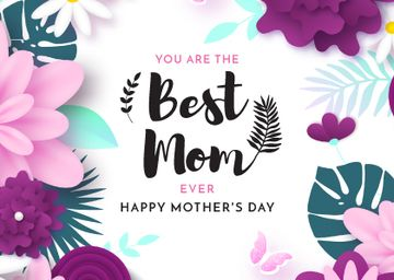 Happy Mother's Day Greeting in Flowers Frame