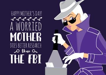 Happy Mother's Day postcard with detective Mom