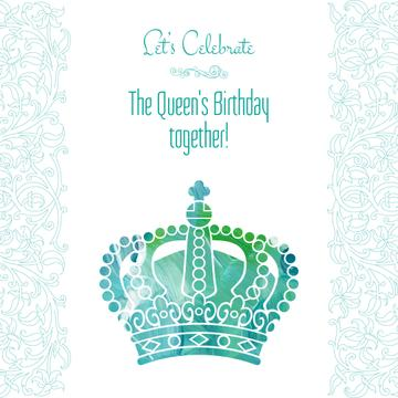 Queen's Birthday greeting with crown