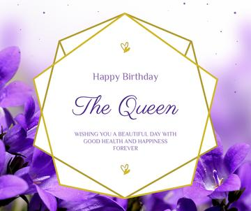 Queen's Birthday Greeting with purple flowers