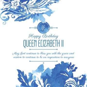 Queen's Birthday greeting in floral frame