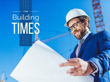 Building Industry News with Architect Holding Blueprint
