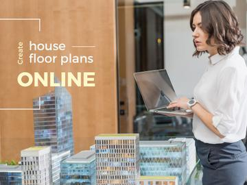 House Plans Online Service Architect with Laptop