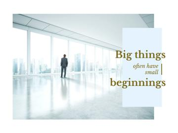 Inspiration Quote with Businessman on City Background