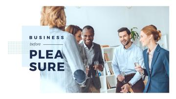 Group of businesspeople with glasses of champagne in office