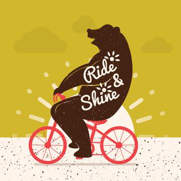 Bear Riding on Red Bicycle