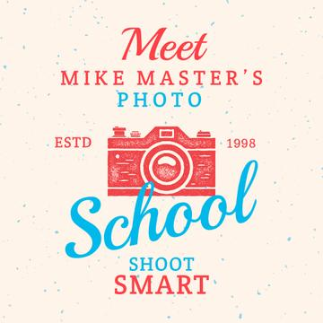 Photo School Ad with Stamp of Camera