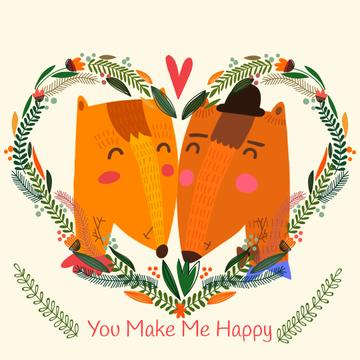 Embracing Foxes in Heart frame for Valentine's Day