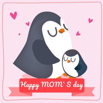 Little Penguin Hugging Mom on Mothers Day