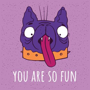 Silly Dog Showing Tongue in Purple