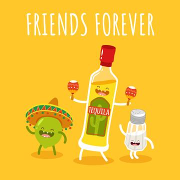Tequila Dancing with Lime and Salt Characters
