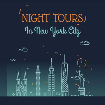 Night Futuristic New York City Lights