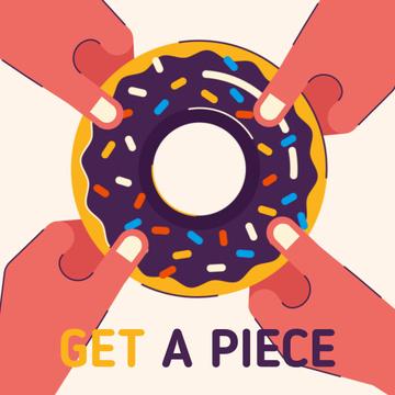 People Pulling Sweet Donut