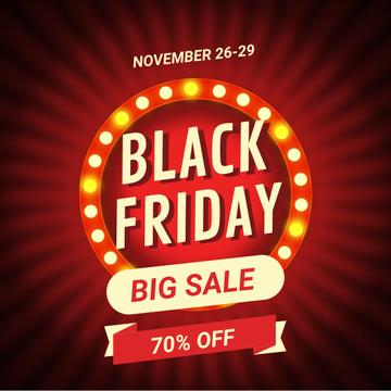 Black Friday Ad with Flickering lamps in circle