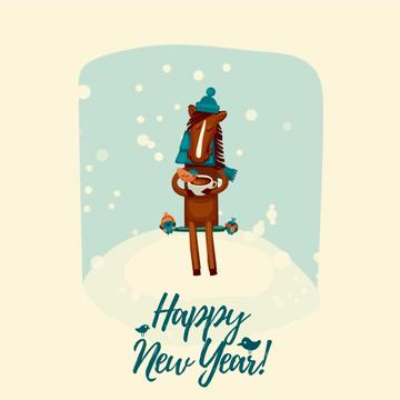 New Year Greeting with Horse on bench with birds