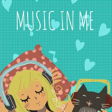 Girl and Cat in Headphones