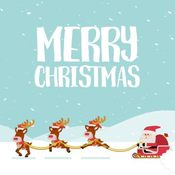 Santa riding in sleigh on Christmas