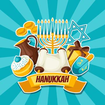Happy Hanukkah Symbols in Blue