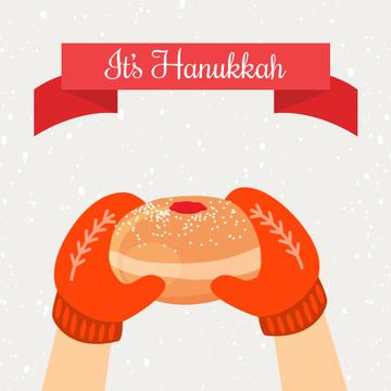 Hands With Hanukkah Sufganiyah