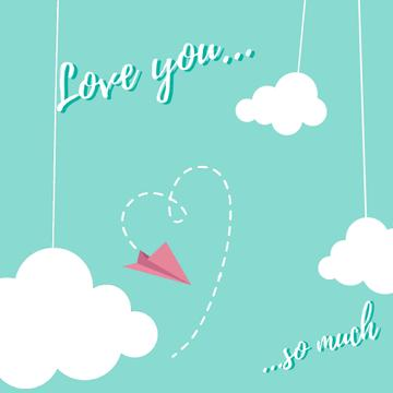 Paper plane drawing Heart on Valnetine's Day