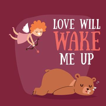 Valentine's Day Cupid shooting arrow in sleeping Bear