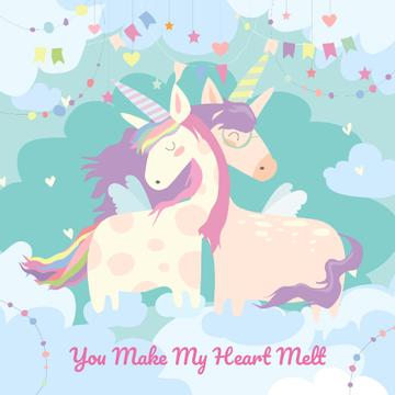 Magical embracing unicorns