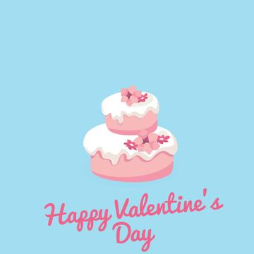 Doves Putting Heart on Cake on Valentine's Day