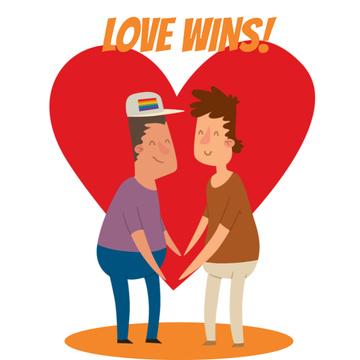 LGBT Lovers on Rainbow Heart