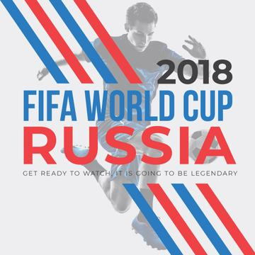World Cup Match announcement with Man playing football