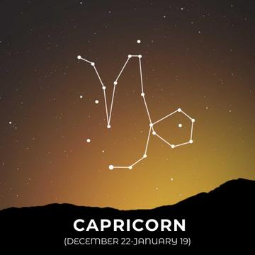 Night Sky with Capricorn Constellation