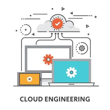 Cloud Service with Computers Icons