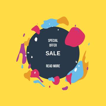 Sale Offer with Moving blots with circle frame