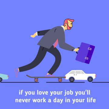 Businessman riding skateboard to work