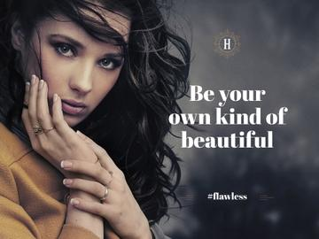 Beautiful young woman with inspirational quote