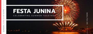 Festa Junina event with fireworks